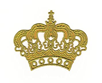 Sew On King Queen Fancy Dress Costume Badge Gold Crown Patch Embroidered Iron