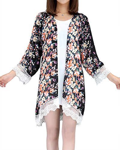 Relipop Women's Sheer Chiffon Blouse Loose Tops Kimono Floral Print Cardigan (Medium, Black)
