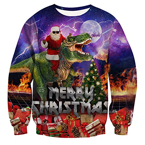 Goodstoworld Funny Christmas Ugly Santa Sweater Holiday Unisex Pullover -
