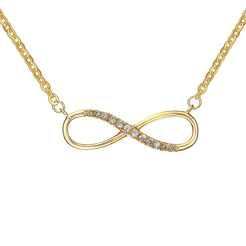 fomissky-sisa Dainty Cubic Zirconia Infinity Necklace for Women Stainless Steel Short CZ Eternity Necklace Pendant Gold Plated