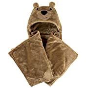 Hudson Baby Plush Hooded Blanket, Dark Brown