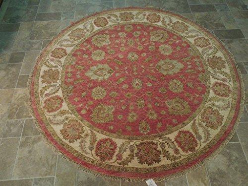 Chobi Carpet - Raspberry Red Hand Knotted Vegetable Dyed 6' x 6' Area Rug Chobi Carpet