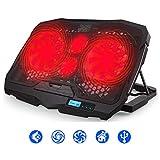 Vencci Laptop Cooler Pad, Notebook Cooling Fan Lap PC Desk Mat, Red Cool