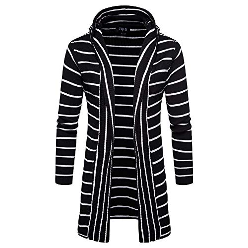 iYBUIA Simple Design Men's Hooded Solid Knit Stripe Coat Jacket Cardigan Long Sleeve Tops Blouse(Black,M) (Beaded Jacket Cardigan Top Black)