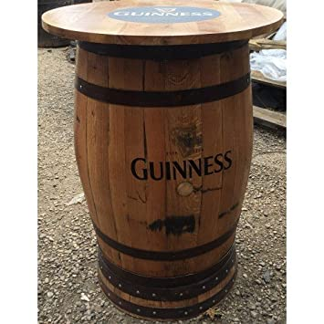 Recycled Solid Oak Whisky Barrel Guinness Branded Pub Table With Round Top