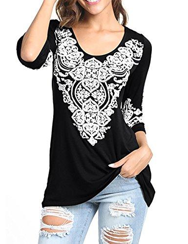 Sleeve Top 1/2 (EMVANV Women's 3/6 Sleeve Boho Tunic Shirts Heart Printed Tops Shirts Black)
