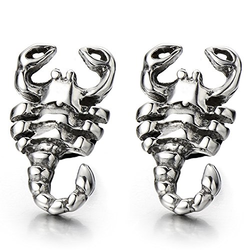 (Mens Scorpion King Stud Earrings in Stainless Steel Gothic Biker Punk Rock, Screw Back, 2 Pcs)