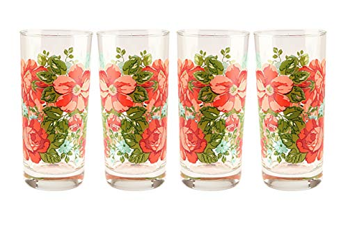 (Pioneer Woman Vintge Floral 16 oz.Glass Cooler set Drinking Glasses Cups Tumbler.)