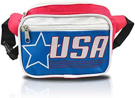 nineteen80something USA Fanny Pack/Patriotic Waist Bag/Hip Fashionable (American Flag Retro Red)