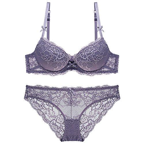 Gathered Bra Set Ladies lace Underwear Panties Sexy Adjustable Bra(Purple 32C)