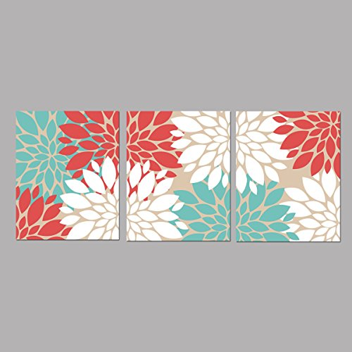 Coral Turquoise and White floral Bursts Dahlias peonies Wall Art - 8x10 ((Unframed)) (Coral Turquoise Flower)
