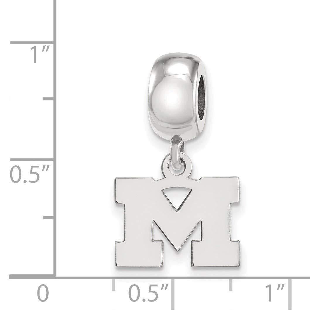 Bonyak Jewelry Sterling Silver Rh-Plated LogoArt Michigan XS Dangle Bead Charm Univ of