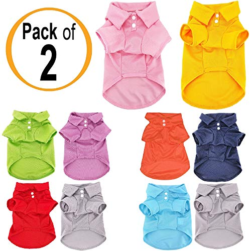 Pack of 2 Colors Dog Polo Shirt Cute Puppy Cat T-Shirt Solid Clothes Apparel for Small Pet (M: Length - 14