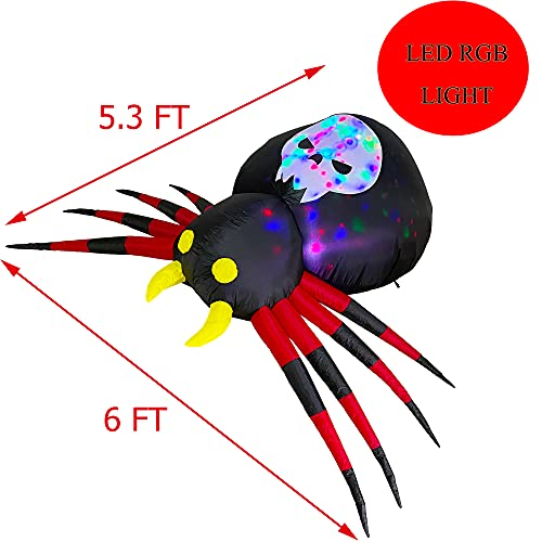 Trystway 6 FT Halloween Inflatable Outdoor Spider with Magic Light, Blow Up Yard Decoration Clearance with LED Lights Built-in for Holiday/Party/Yard/Garden