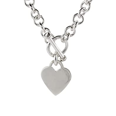 9ea1aa0c1de0 Amazon.com  Sterling Silver Heart Tag Necklace  Jewelry