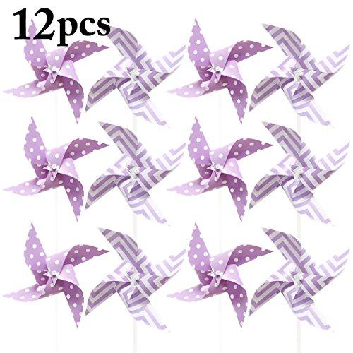 Fansport 12PCS Kids Pinwheel Windmill Pinwheel Cute Dot Stripe Pattern Decor Wind Spinner for Birthday Party