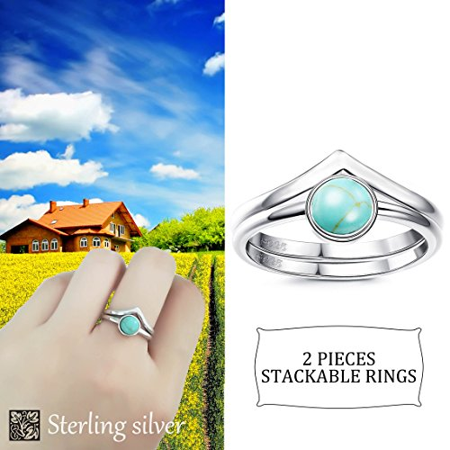 FUNRUN JEWELRY 2 PCS Sterling Silver Stackable Rings for Women Girls Chevron Thumb Turquoise Rings Set High Polish Size 9 by FUNRUN JEWELRY