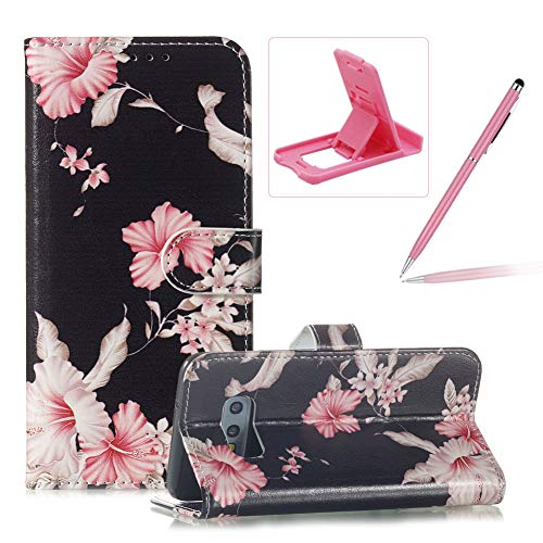 (Wallet Case for Galaxy S10E,Flip Leather Cover for Galaxy S10E,Herzzer Stylish Elegant [Azalea Pattern] Premium Magnetic PU Leather Stand Card Holder Slots Case with Inner Soft TPU)