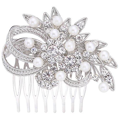 EVER FAITH Women's Austrian Crystal Cream Simulated Pearl Wedding Flower Hair Comb Clear Silver-Tone