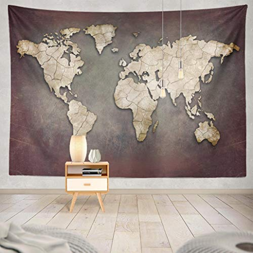 (Summor Wall Tapestry, Wall Hanging Tapestry Cool Tapestries Creative World Map Africa America Art Asia Australia Borders Country Earth 80x60 Inches for Living Room Wall Decor Bedroom)