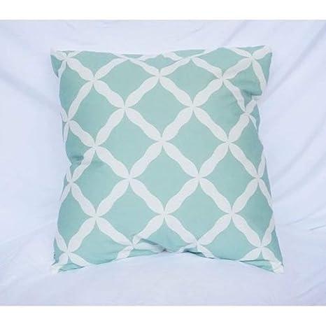 1 pieza 24 x 24 verde menta geométrica manta almohada ...