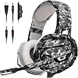 ONIKUMA Gaming Headset - Gaming Headphone with 7.1 Surround Sound  Noise Canceling Earpads & Mic  Soft Memory Earmuff. Compatible with PS4  Xbox One  PC Gamecube Nintendo 64 (Adapter Not Included)