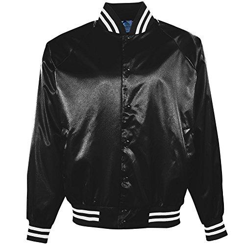 en's Satin Baseball Jacket/striped Trim, Black/White, 3X-Large (Satin Striped Button)