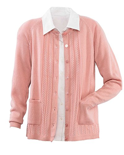 National Classic Cardigan Sweater, Soft Rose, Medium