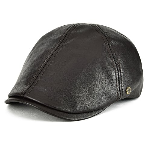 VOBOOM Lambskin Leather Ivy Caps Classic Ivy Hat Cap 6 Pannel Cabbie Beret hat (S/M(58cm), Dark Brown)