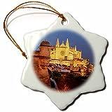 3dRose Danita Delimont - Churches - Spain, Mallorca, Palma de Mallorca. La Seu Gothic Cathedral. - 3 inch Snowflake Porcelain Ornament (orn_277911_1)