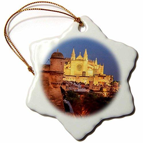 3dRose Danita Delimont - Churches - Spain, Mallorca, Palma de Mallorca. La Seu Gothic Cathedral. - 3 inch Snowflake Porcelain Ornament (orn_277911_1) by 3dRose