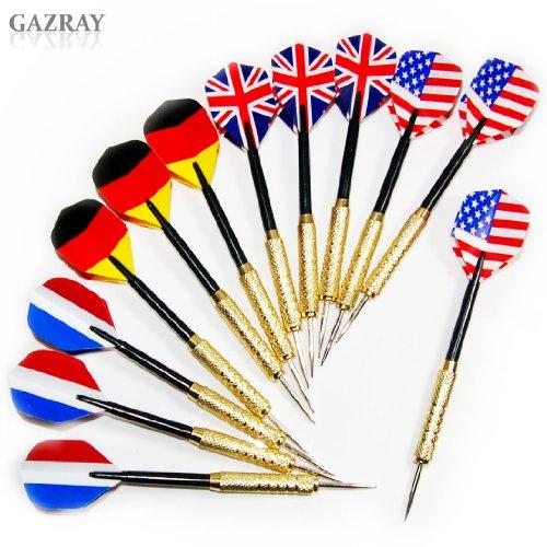 Copper Steel Needle Tip Dart Darts With National Flag Flight Flights Set (4 Styles) (12 (4 Sets Dart Flights)