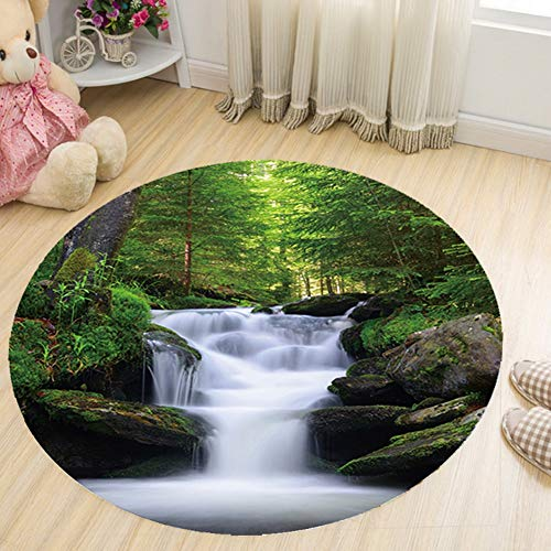KKONION Round Carpets for Living Room Scenery Universe Anti-Slip Rug Parlor Sofa Floor Mat Computer Chair Mat Area Rugs Karpet - Anti Static Diamond Chair Mats