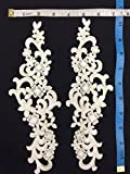 """2 Pairs, Victorian Venise Lace Applique Pair Collar, Excellent Stitching, Great for Costumes, Bridal, Crafts, etc. Ivory, 3.5""""x10.5"""""""