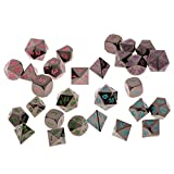 Dovewill 28Pcs Polyhedral Dice Black Nickel Die Table Board Game Toy D4-D20 for RPG MTG DND