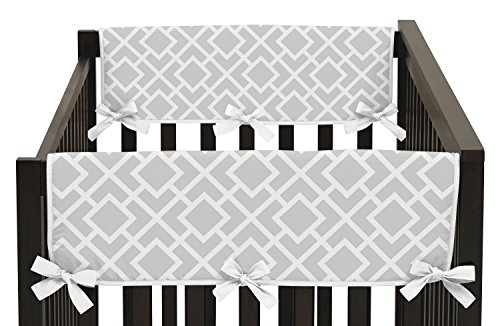 Sweet Jojo Designs 2-Piece Gray and White Diamond Teething Protector Cover Wrap Baby Unisex Boy or Girl Crib Side Rail Guards by Sweet Jojo Designs (Image #3)
