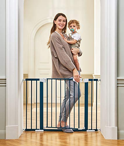 """51pRTyBCOYL Cumbor 46""""Baby Gate for Stairs and Doorways, Extra Tall and Wide Auto Close Safety Child Gate, Easy Walk Thru Durable Dog Gate for The House. Includes (2)2.75-Inch and 8.25-Inch Extension(Blue)    Product Description"""