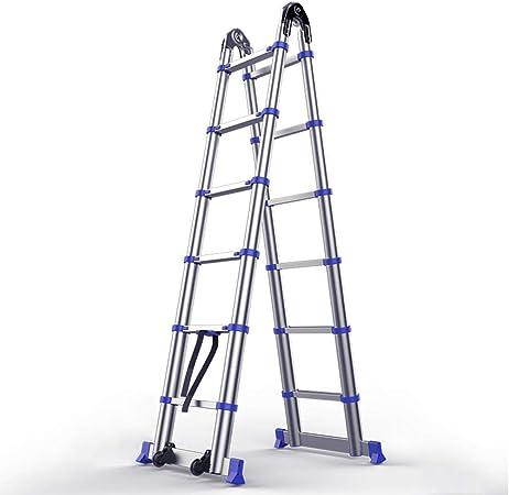 HWF Escalera telescópica Escalera extensible plegable telescópica, Escalera extensible multiusos telescópica de aluminio A Frame, Fuerte, segura y portátil para el hogar Loft Ingeniería de oficinas, s: Amazon.es: Hogar