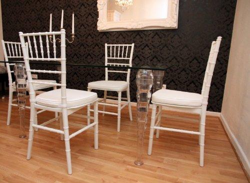 Designer Acryl Esszimmer Set Weiss Weiss Ghost Chair Table