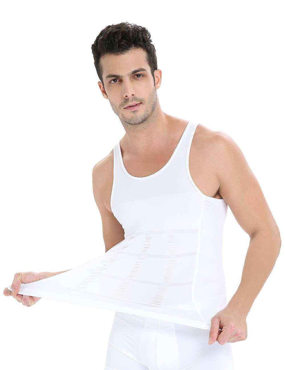 Roacoa Compression Shirts for Men, Tummy Control and Gynecomastia Slimming Body Shaper (X-Large, White)