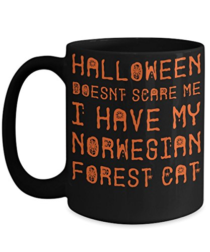 Halloween Norwegian Forest Cat Mug - White 11oz Ceramic Tea Coffee Cup - Perfect For Travel And Gifts -