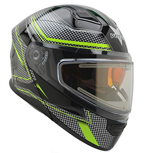 Vega Helmets Unisex-Adult Modular Caldera Electric Snow Snowmobile Helmet with 30% Larger Shield and Sunshield (Hi-Vis Green Graphic, X-Large)