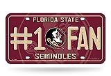 Rico NCAA Florida State Seminoles #1 Fan Metal License Plate Tag