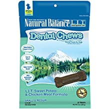 Natural Balance Dental Chews Dog Treats, L.I.T. Limited Ingredient Treats Sweet Potato & Chicken Meal Formula, Grain Free, For Small Dogs, 13-Ounce