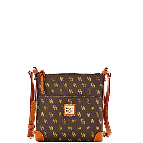 Dooney & Bourke NG725BM Gretta Signature Letter Carrier - Brown T Moro With Tan Trim