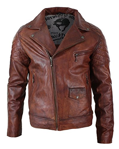 Aviatrix Mens Vintage Washed Tan Brown Real Leather Biker Jacket Cross Zip Retro Casual timber (Cross Leather Jacket)