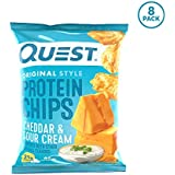 Quest Nutrition Cheddar & Sour Cream Protein Chips, Low Carb, Gluten Free, Soy Free, Potato Free, Baked, 1.1 Oz bag, Pack of 8