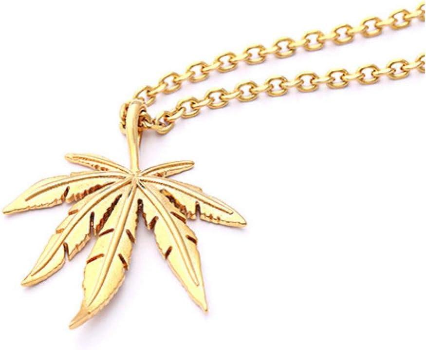 Collar Collar De Hoja De Arce Accesorios De Comercio Exterior con Cadena Cruzada Hip Hop Hiphop Calle Cáñamo Fimble Leaf Colgante Collar De Hombre