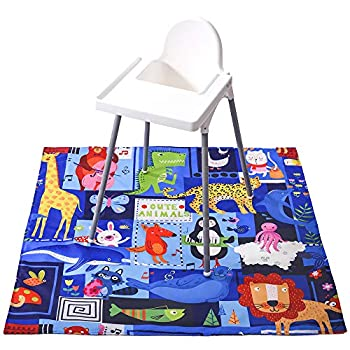 51″ Child Splat Mat for Below Excessive Chair, Winthome Washable Giant Flooring Mat, Antislip Waterproof Child Splash Mat for Dropping Meals/Feeding, Arts/Crafts (Cute Animal)