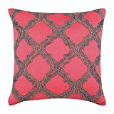 "Designer Coral Pillow Shams, Beaded Lattice Trellis Pillow Sham, 24""x24"" Pillow Shams, Square Cotton Linen Shams, Art Deco Pillow Shams - Highlight Of The Day"